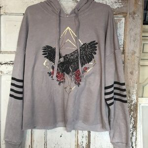 NWT Gray Long Sleeved pullover hoodie w/ eagle